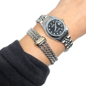 Jewelry - Rhodium Gold Plated Two Toned Chains Bracelet